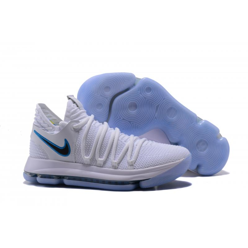 """886fa9fff7f Nike KD 10 """"Opening Night"""" White Game Royal-University Gold Outlet ..."""