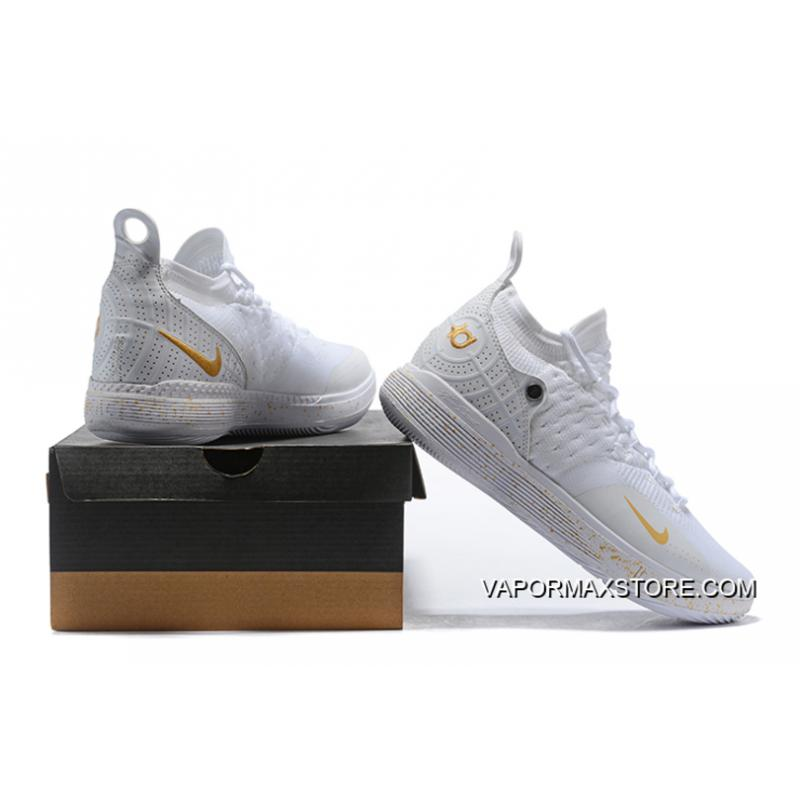 newest ae31c 4ba6d ... Online Men s Nike KD 11 White Metallic Gold Basketball Shoes On Sale ...