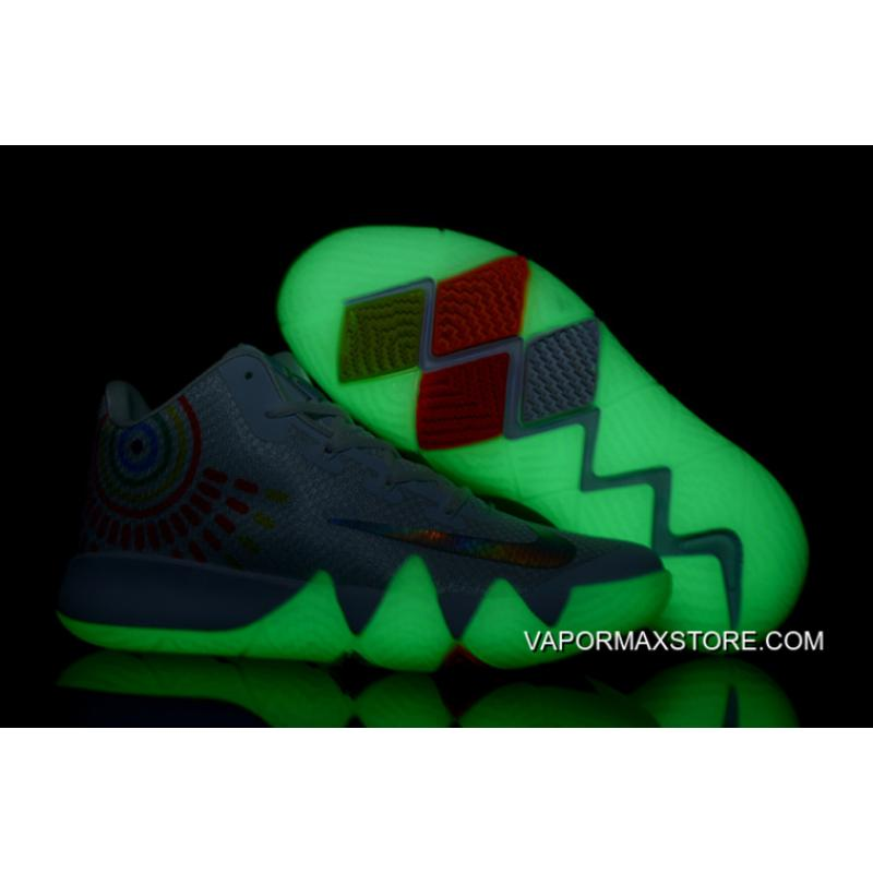 """95fd9456619e For Sale Nike Kyrie 4 """"Iridescent Swoosh"""" Glow In The Dark Soles ..."""