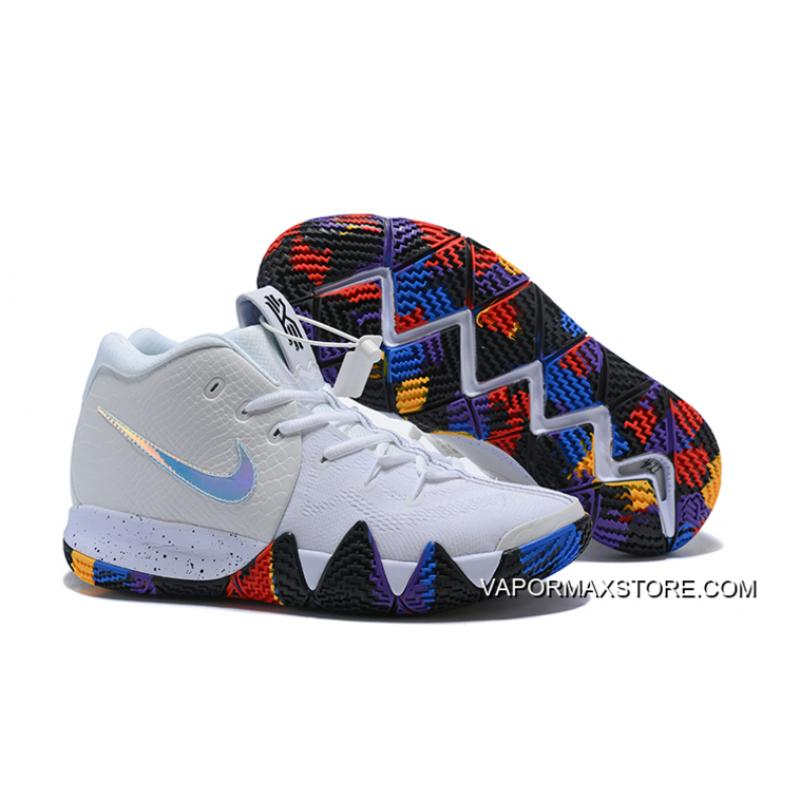 "watch c7132 cc3f6 Nike Kyrie 4 NCAA ""March Madness"" White Multi-Color Top Deals ..."