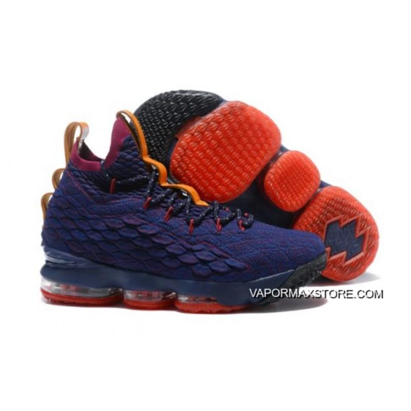 "0e7b6b2a987 Buy Now Nike LeBron 15 ""Cavs"" Navy Blue Wine Red-Orange ..."