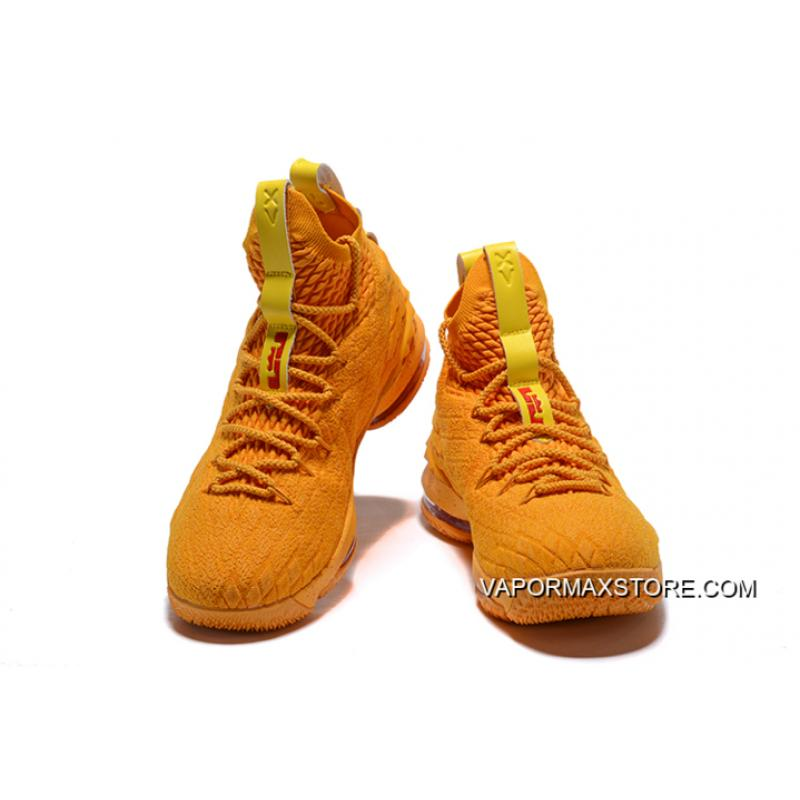 "b3820aeb60b ... Nike LeBron 15 ""Cavs"" Orange Yellow New Style ..."