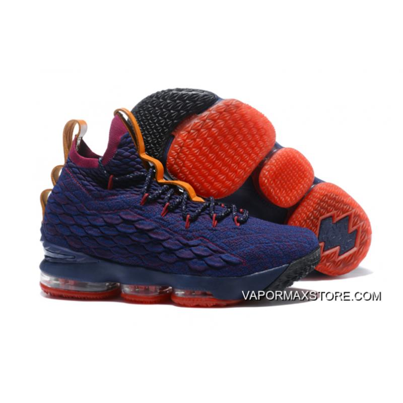 "Nike LeBron 15 ""Cavs"" Navy Blue Wine Red-Orange Buy Now ... 04ae3717f5f0"
