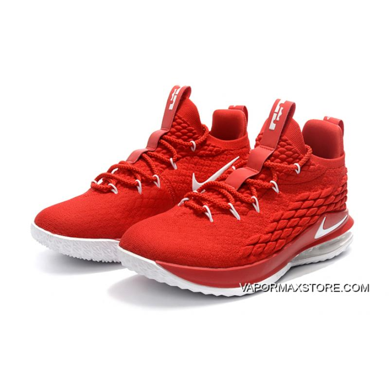 a662b00dee4c4 ... Best Nike LeBron 15 Low University Red White Men s Basketball Shoes ...