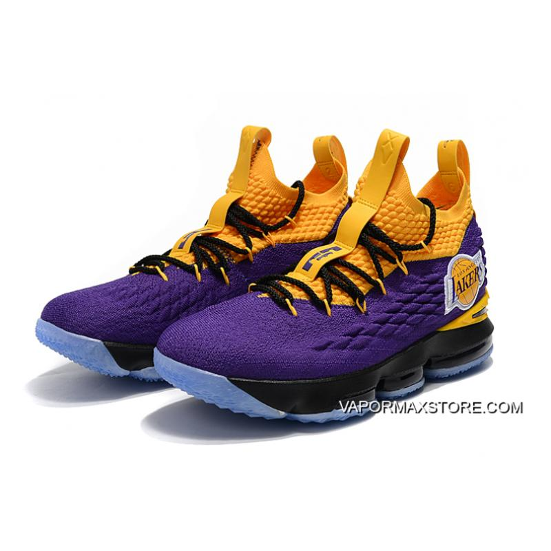 """5dbdc2a51a04 ... New Year Deals Nike LeBron 15 """"Lakers"""" Purple Yellow Black Basketball  Shoes ..."""