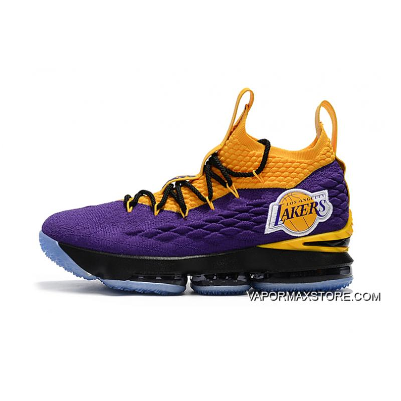 "9ad14c20a9fd ... New Year Deals Nike LeBron 15 ""Lakers"" Purple Yellow Black Basketball  Shoes ..."