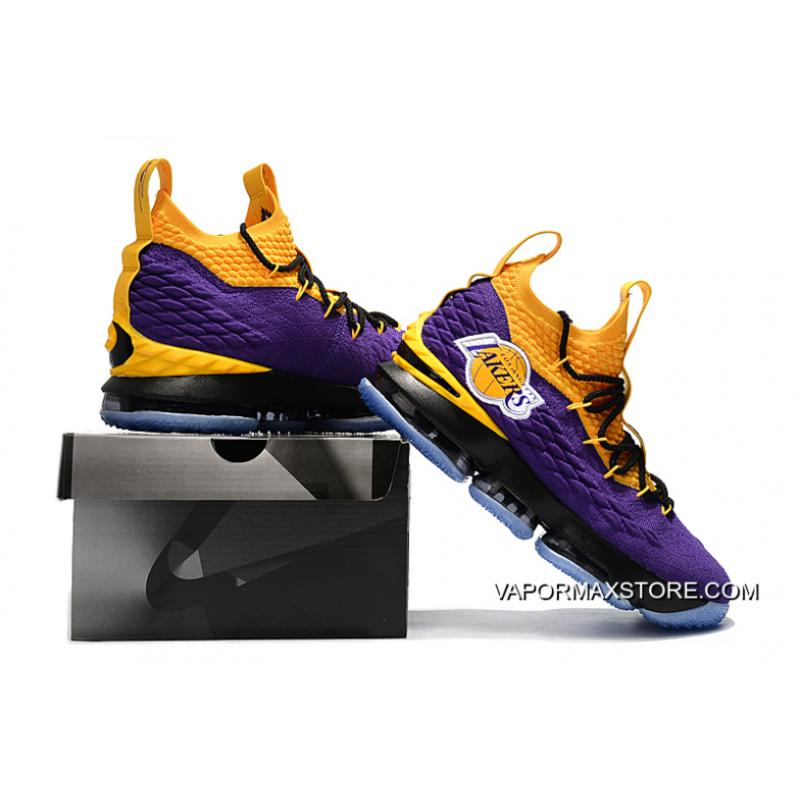 """1f7435311c0 ... New Year Deals Nike LeBron 15 """"Lakers"""" Purple Yellow Black Basketball  Shoes ..."""