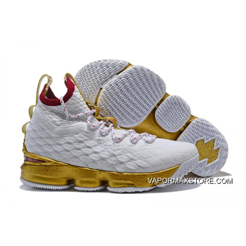 official photos c0f53 fa631 Nike LeBron 15 'Championship Gold' White Gold Top Deals