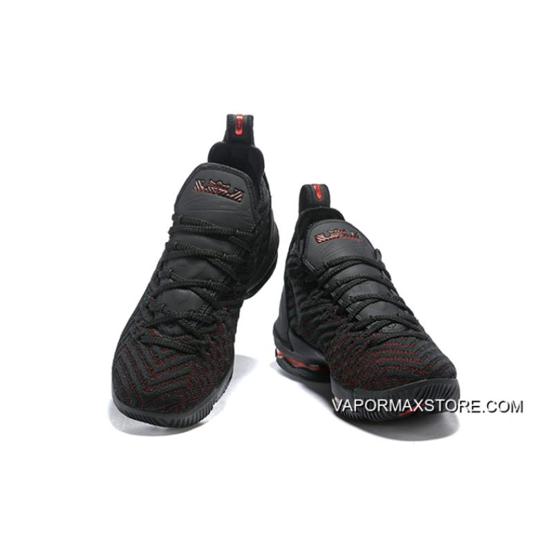 """7d837dfb404 ... Women Men Authentic Nike LeBron 16 """"Bred"""" Black Red Basketball Shoes ..."""