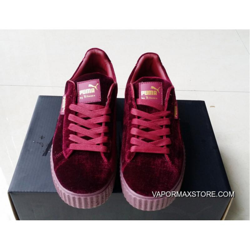 new concept 0a169 ce5c4 Discount Puma By Rihanna Suede Creepers Burgundy Mens Womens Shoes
