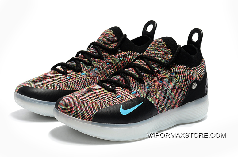 "63d9e0b84d7 Nike KD 11 ""Multicolor"" Black Persian Violet-Bright Crimson-Chlorine Blue"