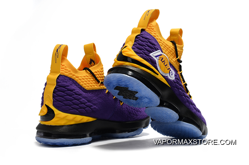 """1dd0ce3fa9814 New Year Deals Nike LeBron 15 """"Lakers"""" Purple Yellow Black Basketball Shoes"""