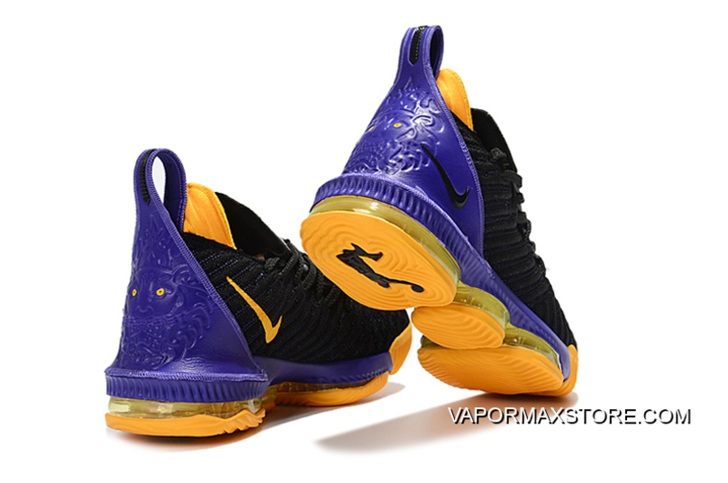 size 40 40763 9fd0c New Year Deals Nike LeBron 16 Black/Purple-Yellow Basketball Shoes