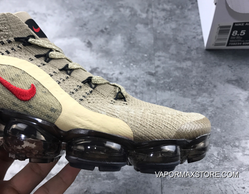 newest 2248d 25304 Nike Air VaporMax Flyknit Taupe Grey Red New Release